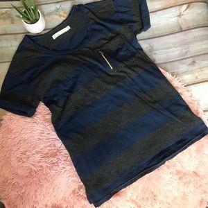 Madewell Hi Line | Blue & Grey Short Sleeve